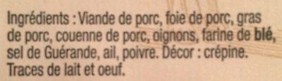 Pâté de campagne breton - Ingrédients - fr