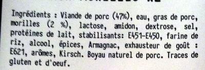 Boudin Blanc aux Morilles (x 2) - Ingrediënten - fr