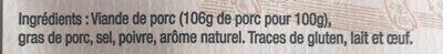 Rilettes pur porc - Ingrédients - fr