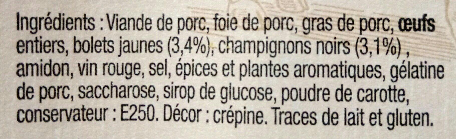 Terrine de Campagne Forestière à l'Ancienne - Ingredients