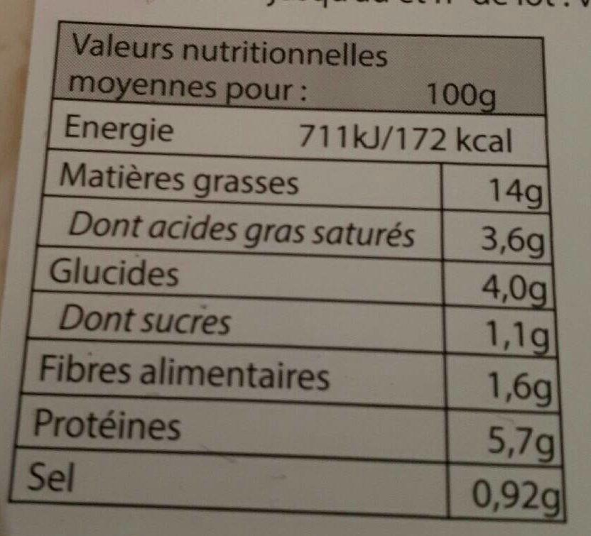 Trio de Chou Jambon et Comté - Informations nutritionnelles - fr
