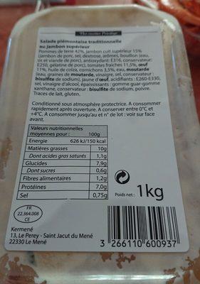 Piémontaise traditionnelle au jambon supérieur - Ingrédients