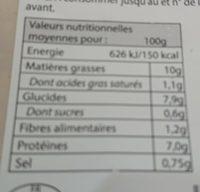 Piémontaise traditionnelle au jambon supérieur - Informations nutritionnelles