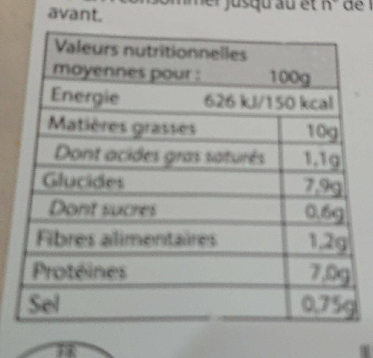 Piémontaise traditionnelle au jambon supérieur - Informations nutritionnelles - fr