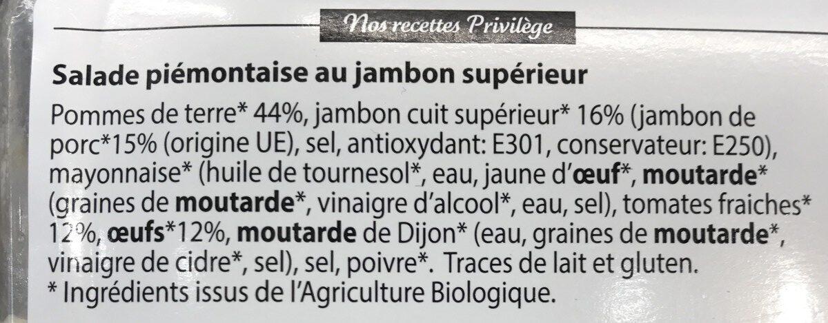 Piemontaise au jambon suoerieur bio - Ingrediënten