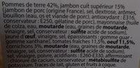 Salade piémontaise traditionnelle au jambon superieur - Ingrédients - fr