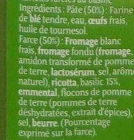 Ravioles au Basilic - Ingrédients