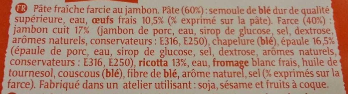 Raviolini aux Œufs Frais Jambon - Ingrédients