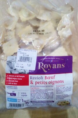 Ravioli boeuf et petits oignons royans - Nutrition facts - fr