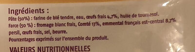 Ravioles du Dauphiné surgelées - Ingrédients - fr