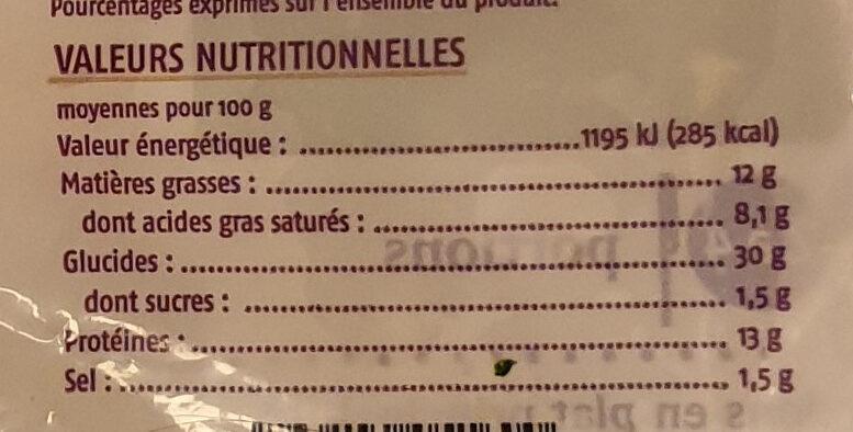 Ravioles du Dauphiné surgelées - Informations nutritionnelles