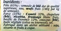 Fagottini Comté - Basilic de Provence - Ingrédients