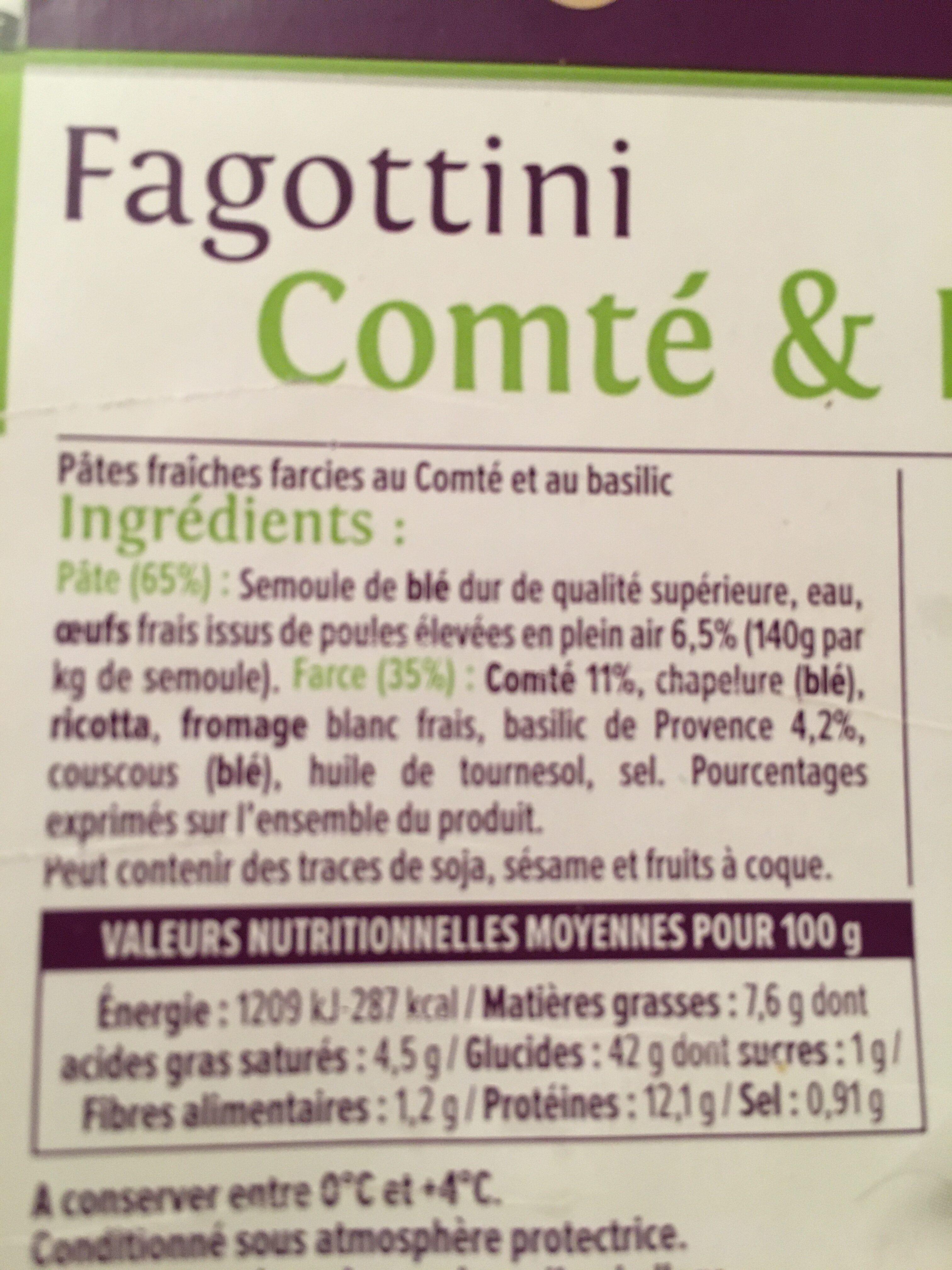Fagottini Comté - Basilic de Provence - Informations nutritionnelles - fr