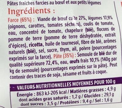 Canelloni Boeuf & légumes cuisinés - Ingrédients - fr