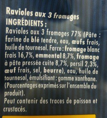 Ravioles a poêler - Ingredients