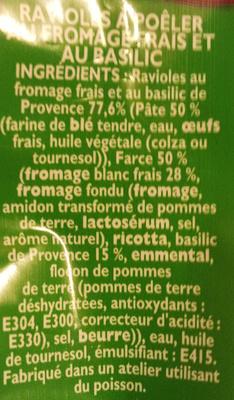 Ravioles à poêler Basilic - Ingrédients - fr