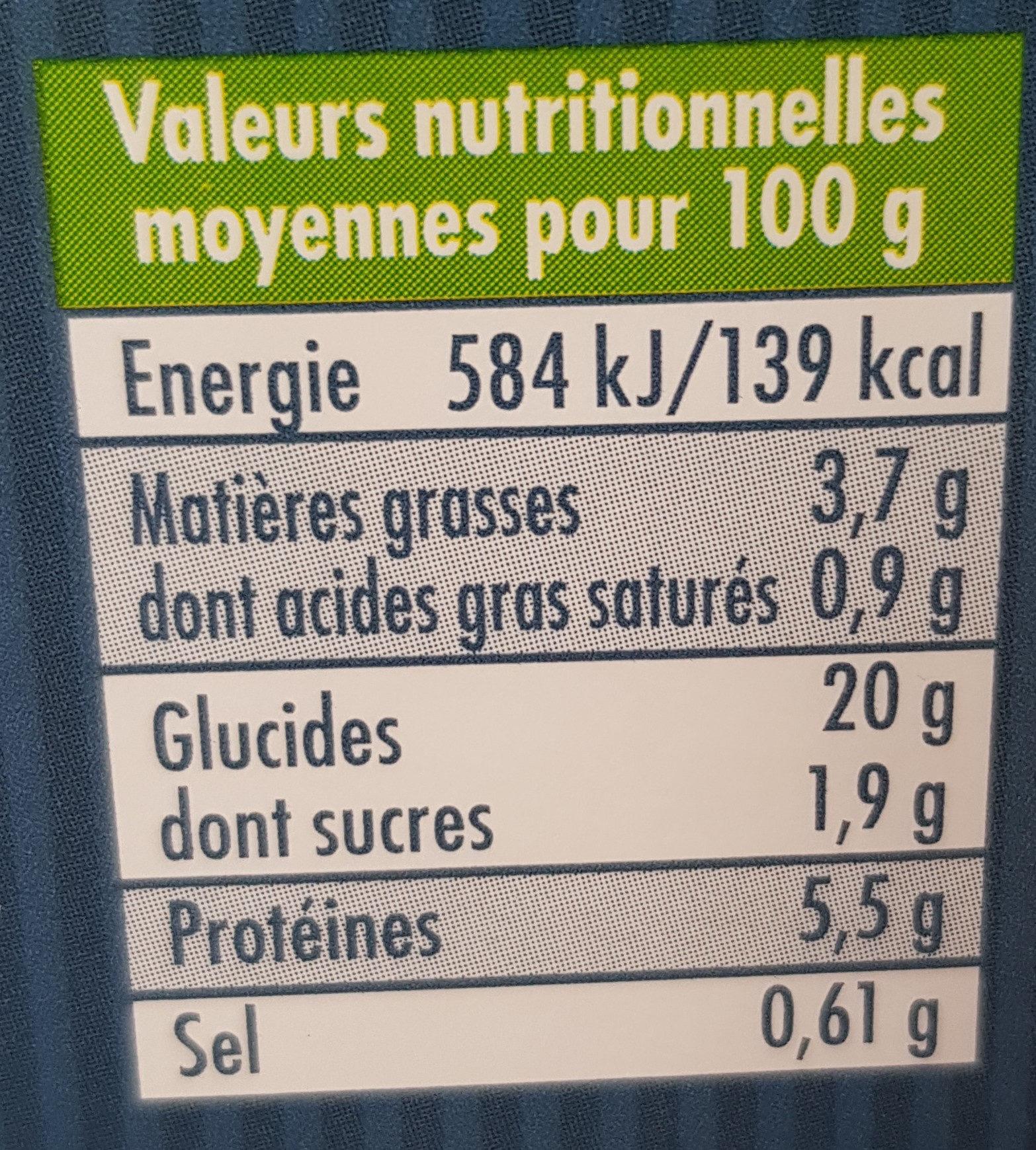 Saveur Express Farfalles Sauce Bolognaise - Informations nutritionnelles
