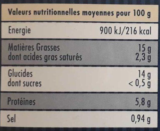 Suprêmes d'Heliot - Informations nutritionnelles