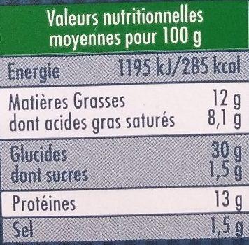 Ravioles du Dauphiné au comté - Informations nutritionnelles - fr