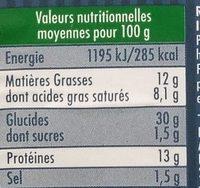Ravioles du Dauphiné Comté AOP - Informations nutritionnelles