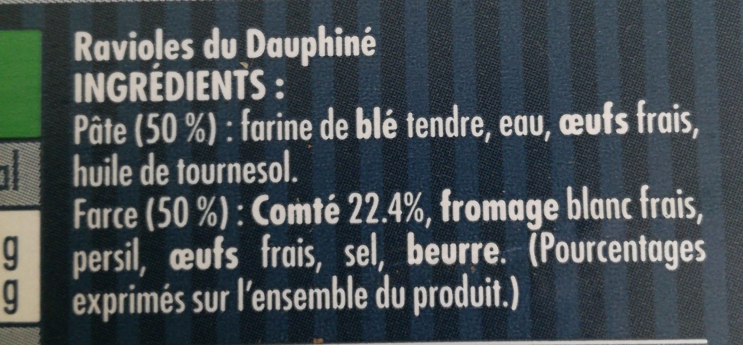 Ravioles du dauphiné comté AOP - Ingredientes
