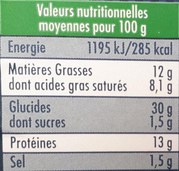 Ravioles du Dauphiné au Comté AOP - Informations nutritionnelles
