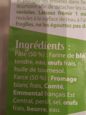 Ravioles - Ingrédients
