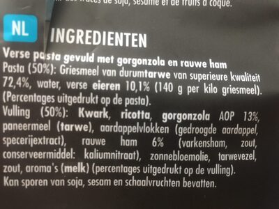 Ravioli gorgonzola &  jambon cru  SAINT-JEAN - Ingrédients - nl
