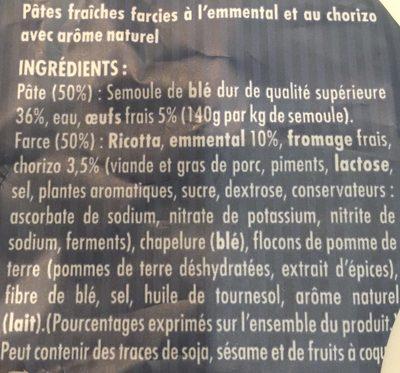 Ravioli Emmental & Chorizo - Ingrédients