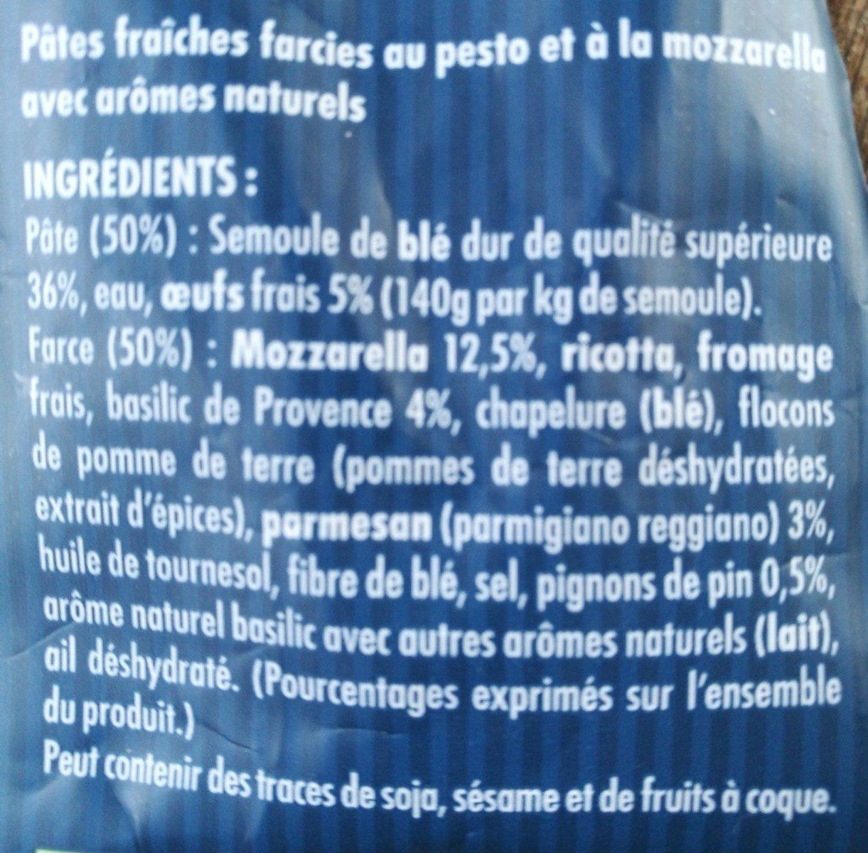 Pates fraîches ravioli pesto-mozarella - Ingrédients
