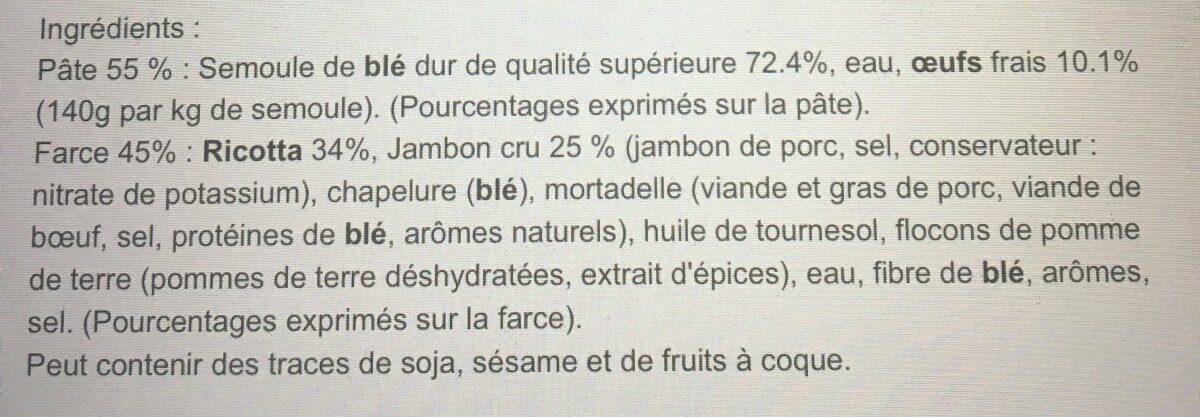 Pates fraiches cappelletti jambon cru et ricotta - Ingrédients - fr