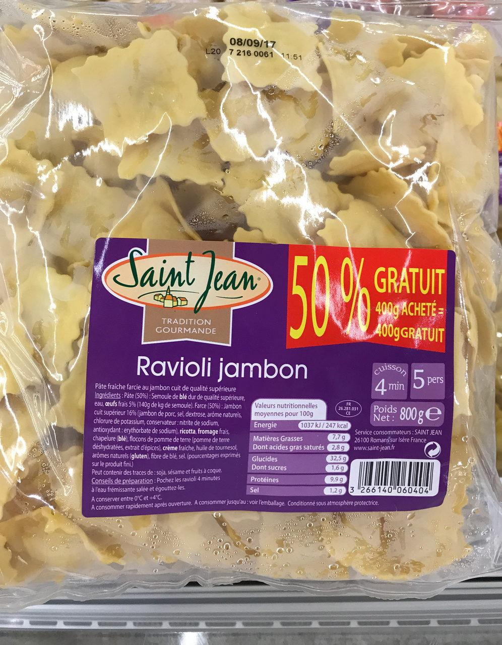 Ravioli jambon (50% gratuit) - Produit - fr