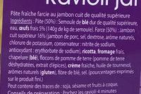 Ravioli jambon (50% gratuit) - Ingrédients - fr