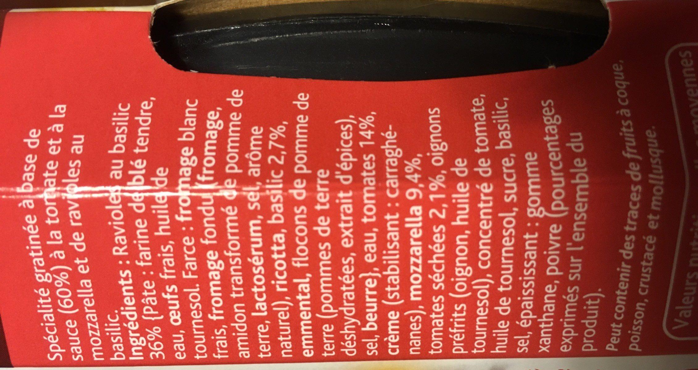 Gratin de ravioles basilic - Ingrédients