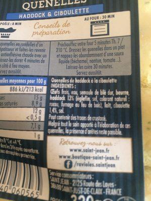 Quenelles de haddock à la ciboulette - Ingredients