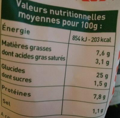 Ravioles à poêler - Tomate - Mozzarelle - Informations nutritionnelles - fr