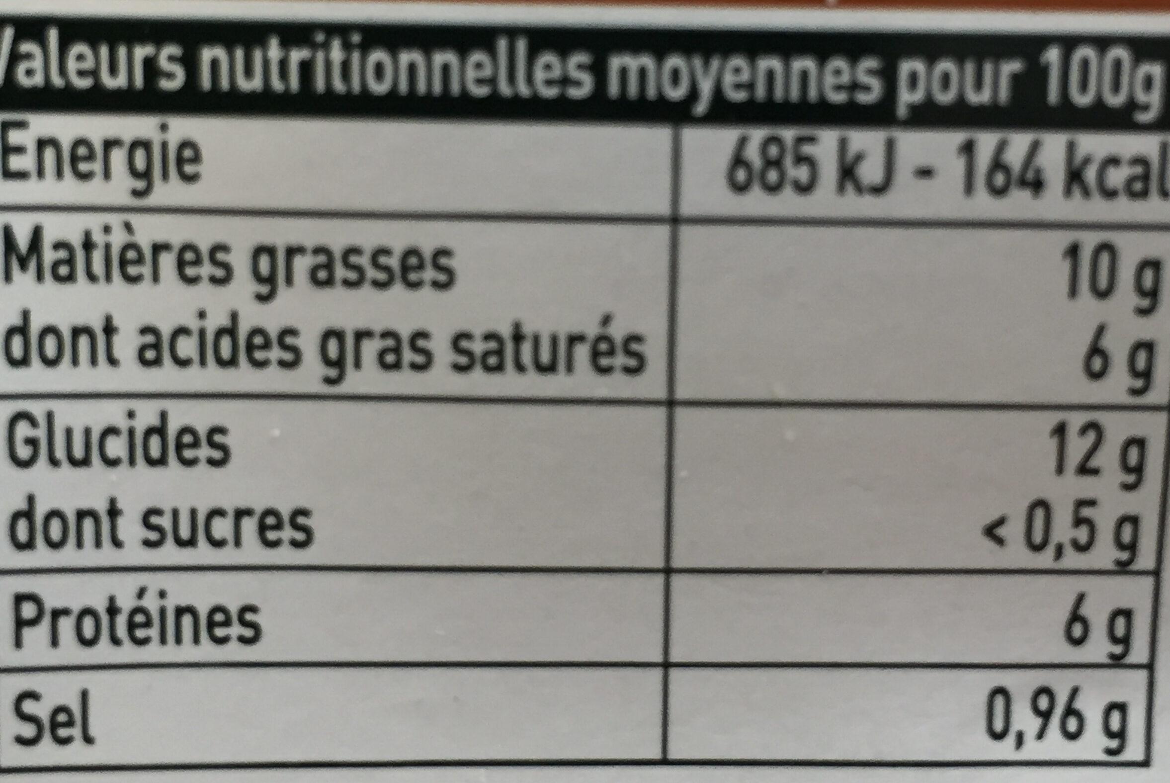 Soufflés petits légumes - Nutrition facts - fr