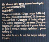 Nos pâtes perles saumon fumé et petits pois sauce citronnée - Ingredients