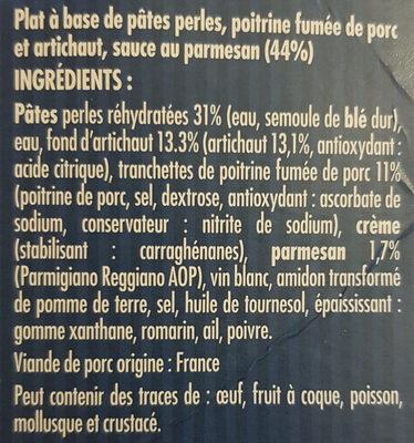 Nos pâtes perles Poitrine Fumée et Artichaut au Parmesan - Ingrediënten