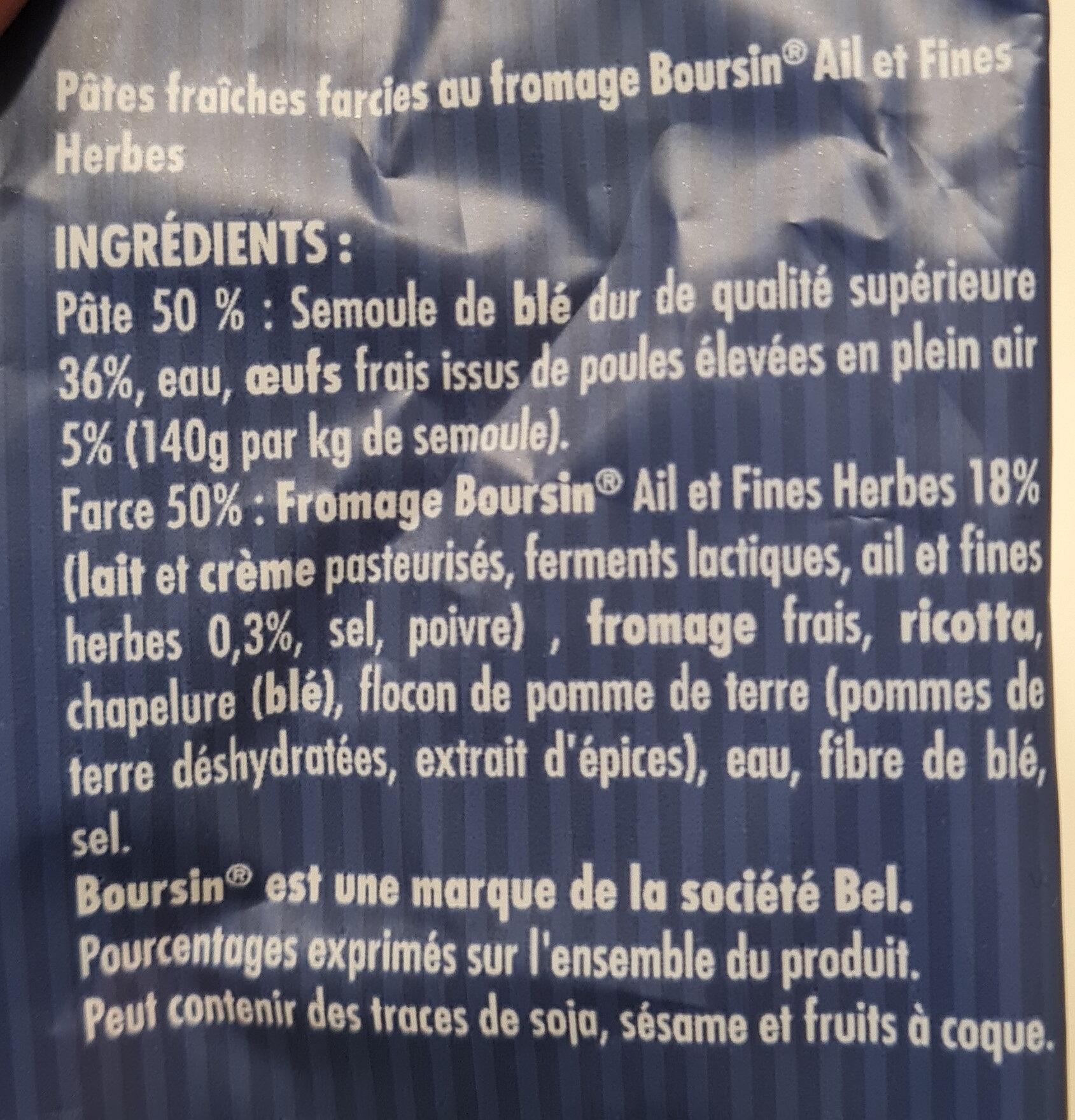 nos véritables pâtes fraîches au fromage Boursin - Ingrédients - fr