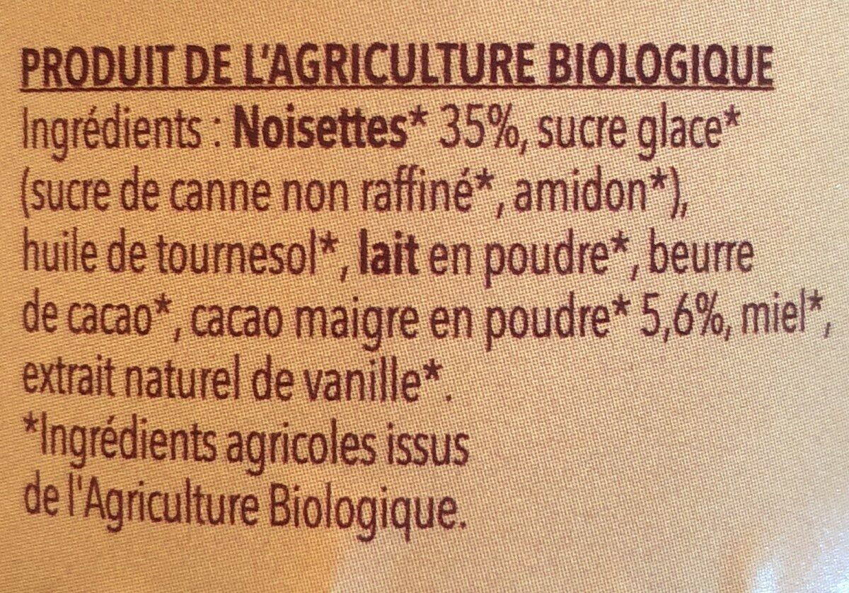 Pate à tartiner Noisette Cacao - Ingrédients - fr