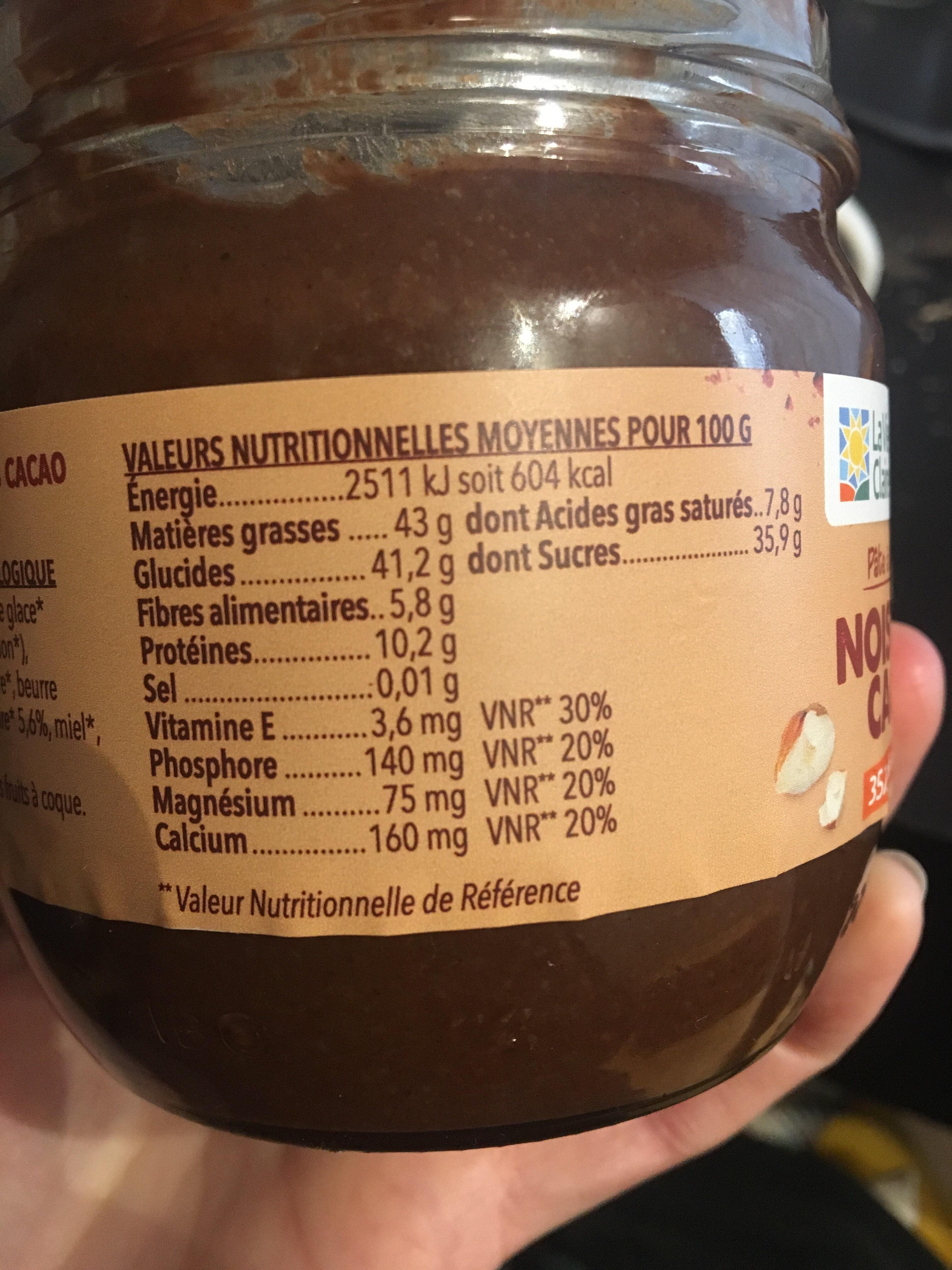 Pate à tartiner Noisette Cacao - Informations nutritionnelles - fr