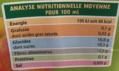 100% pur jus de pomme - Nutrition facts