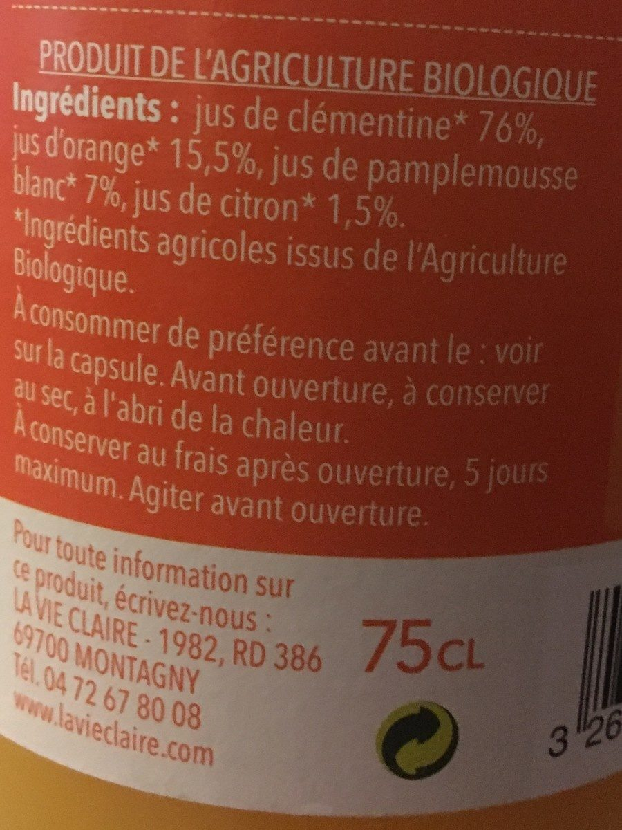 Pur jus 4 agrumes - Ingredients