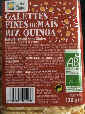 Galettes fines de mais, riz et quinoa - Produit