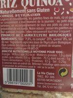 Galettes fines de mais, riz et quinoa - Informations nutritionnelles