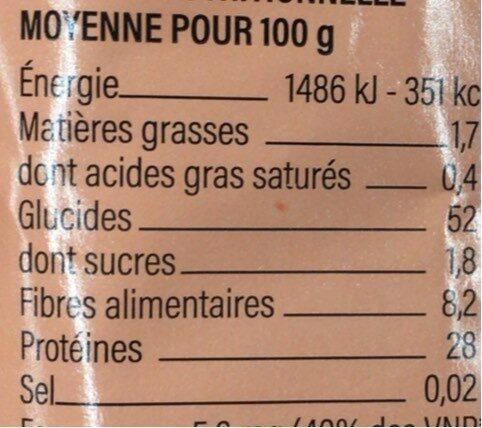 Couscous lentille corail - Informations nutritionnelles - fr