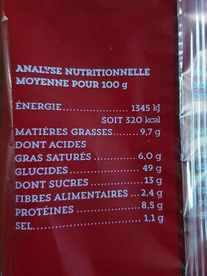 Brioche tranchée pur beurre - Informations nutritionnelles - fr