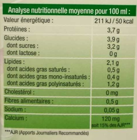 Boisson de soja - Nutrition facts