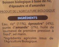 Boisson riz épautre amande - Ingrédients - fr